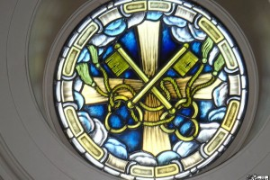 Cross Keys Round Stained Glass Window Shrine of Our Lady of Guadalupe La Crosse WI