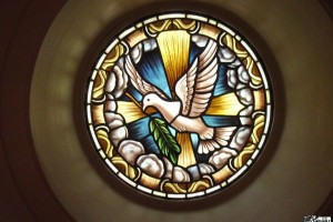 Dove Round Stained Glass Window Shrine of Our Lady of Guadalupe La Crosse WI