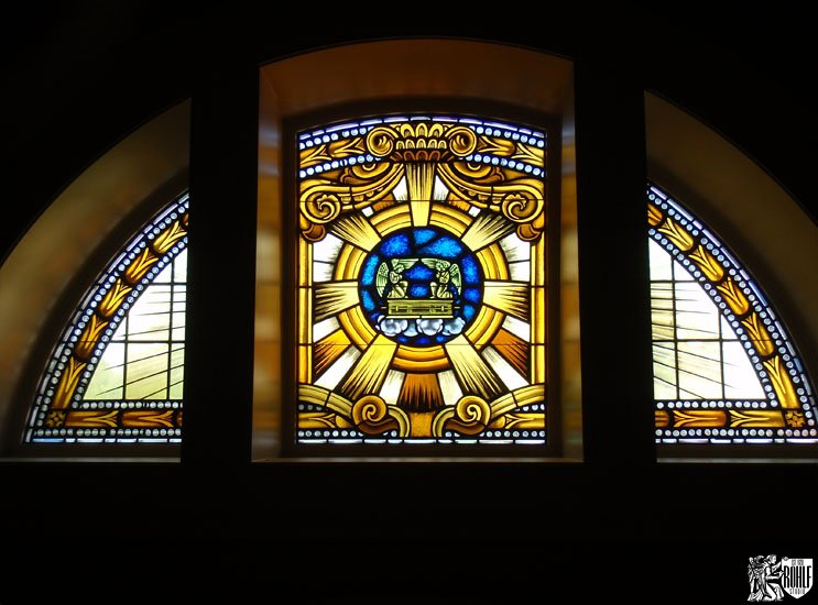 Half Circle Stained Glass Window Shrine of Our Lady of Guadalupe La Crosse WI