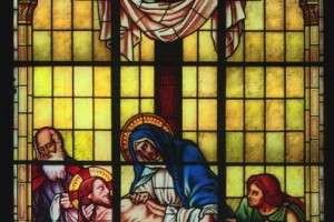 Mary Jesus Cross Traditional Stained Glass Window Shrine of Our Lady of Guadalupe La Crosse WI