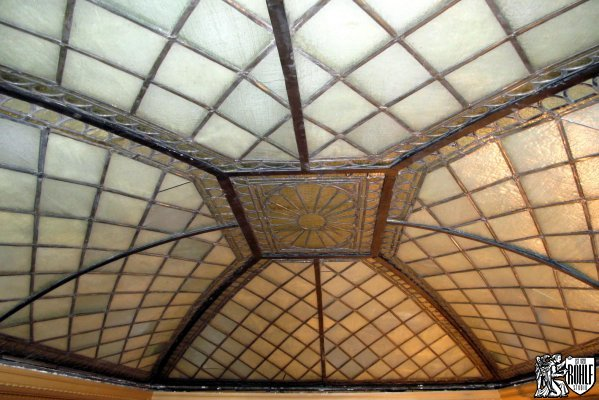 Restored stained glass skylight NY Society LIbrary