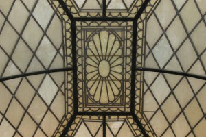 NY Society Library restored stained glass skylight alt view