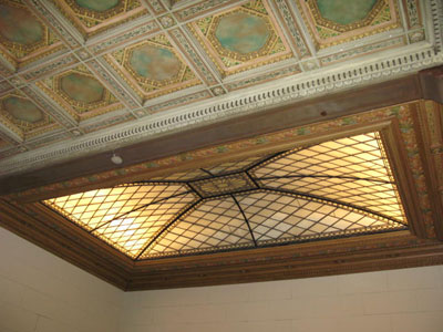 NY Society Library restored stained glass skylight