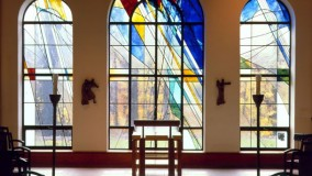 contemporary stained glass window for chapel - Marian Woods Chapel - Hartsdale, NY