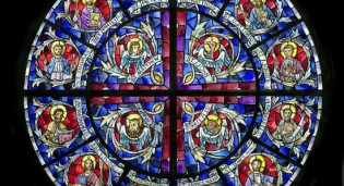 Colored Rendering of Rose Stained Glass Window St. Joseph's Catholic Church - Dalton, GA