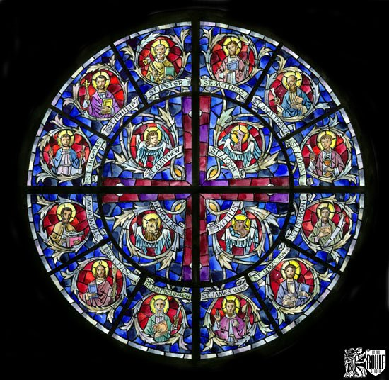 Colored Rendering Of Rose Stained Glass Window St Josephs Catholic Church