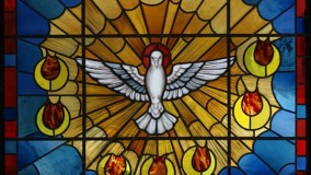 Religious new stained glass window by Rohlf for Church of the Holy Spirit - Gloversville, NY