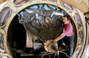 Re-Installation of Restored Tiffany Stained Glass Inside Clock at Grand Central GCT