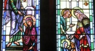 Byzantine Art stained glass window by Rohlf Kimisis Theotokou Greek Orthodox Church - Brooklyn, NY