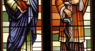 new stained flass window depicting St. Barnabas and St. Lucas at Reston Study Center - Reston, VA