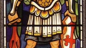 Traditional painted figure by Rohlf's Stained and Leaded Glass Studio