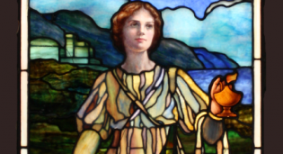 Restored stained glass panel from Lafayette Presbyterian Church in Brooklyn, NY