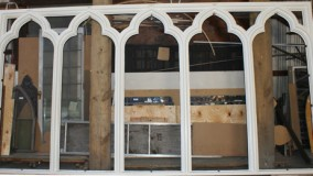 New Mahogany Window Frames for Lancet Stained Glass Windows.