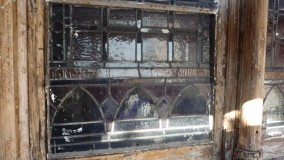 Before stained glass restoration at Yale Repertory Theatre