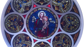 St. Joseph's Church Completed Rose Stained Glass Window