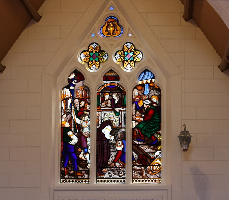 Grace Episcopal Church Restored Bolton Stained Glass Window City Island